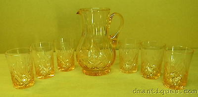 ANTIQUE 7pc PINK ROSE CRYSTAL WATER SET PITCHER TUMBLERS FLORAL DIAMOND PATTERN
