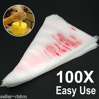 "100 13.7"" Plastic Disposable Icing Piping Pastry Bags Cake Decorating Plastic"