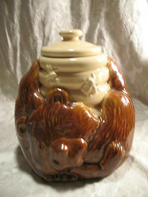 Vintage McCoy Sleeping Bear and Honey Pot Ceramic Cookie Jar #143 USA