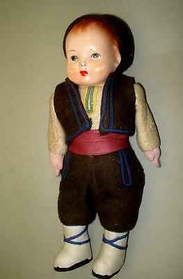 """Antique CELLULOID Hand Painted Head Doll Boy with Bulgarian Folk Costume 10"""""""