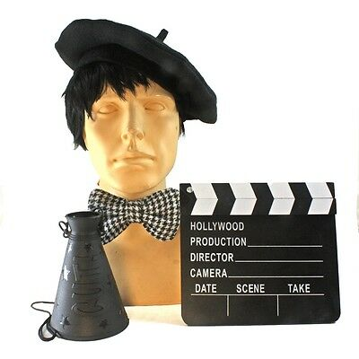 Hollywood Classic Director Costume Kit Beret Clapboard Megaphone Bow Tie