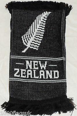 New Zealand All Blacks Silver Fern Rugby National Flag Double Knitted Scarf *