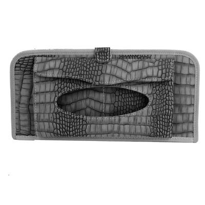 Crocodile Pattern Faux Leather Folio Car Sun Visor Tissue 13 CD Holder Gray