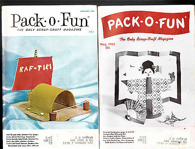 Pack-o-Fun Scrap Craft Magazine Lot of 5 From 1960s