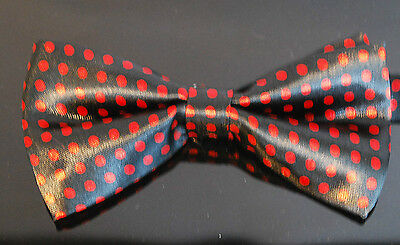 New High Quality Polka Mens Wedding Bow Tie - Black With Red Dot