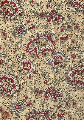 Antique 1880 Tan Blue & Red Floral Fabric