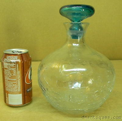 VINTAGE LARGE CRACKLE GLASS DECANTER BLUE STOPPER HAND BLOWN ART GLASS UNSIGNED