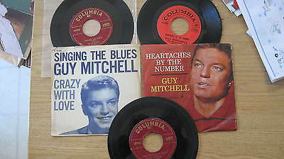GUY MITCHELL LOT OF 3 ORIGINAL VINTAGE US-ISSUE 45s w/PICTURE SLEEVES