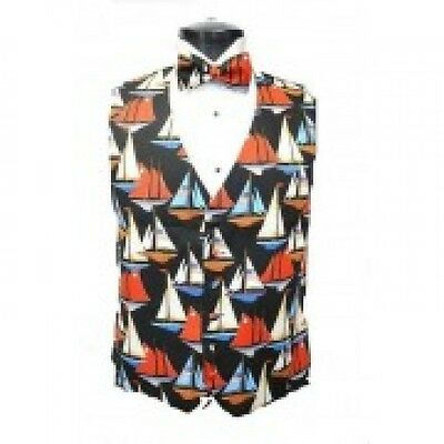 America's Cup Sailboats Tuxedo Vest and Bowtie