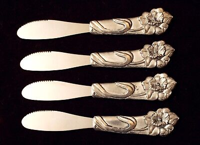 4 Stunning Antique ART NOUVEAU Small Pewter & Stainless Spreading, Butter Knives