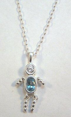 MARCH Sterling Silver Birthstone Boy Charm on a  Silver Plated Link Necklace