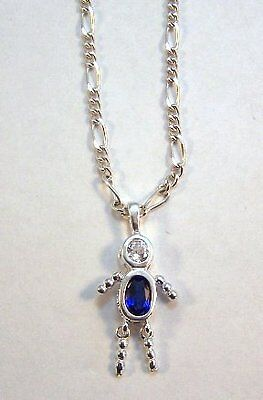 September Sterling Silver Birthstone Boy Charm on Silver Plated Figaro Necklace