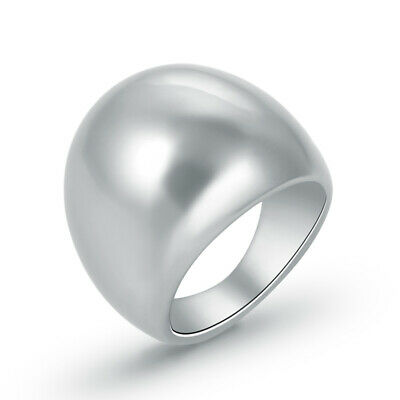 Fashion Stainless Steel Silver Women Ladies Oval Design Ring Size 6 7 8 9 10 11