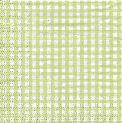 Gingham Check Paper Napkins Spring green