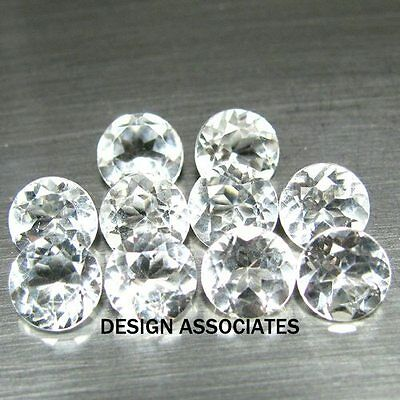 2.5 Mm Round Cut White Zircon All Natural Aaa 10 Pc Set