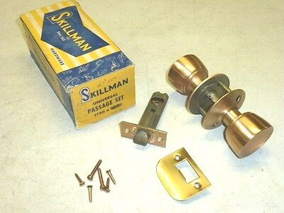 NOS! Skillman 1750 UNIVERSAL PASSAGE DOOR LOCKSET, Fin: US10 SATIN BRONZE