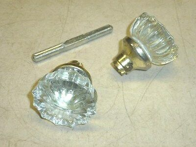 VINTAGE TEGCO GLASS DOOR KNOBS w/ BRASS FINISH