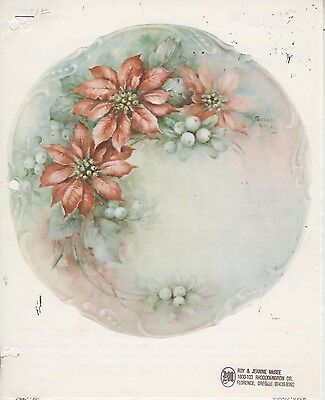 Poinsettias & Snowberries #69 by Sonie Ames China Painting Study 1974