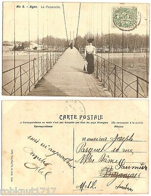 CPA Hall de la Dépêche postcard bridge footbridge pont La Passerelle AGEN 957 A