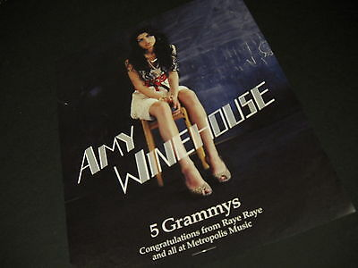 AMY WINEHOUSE 5 Grammys CAPTIVATING 2008 Promo Display Ad mint condition