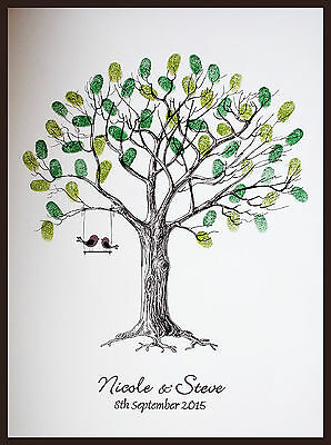 Personalised Wedding Fingerprint / Thumbprint Tree- Alternative Guest Book/ Gift