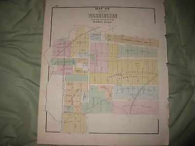 ANTIQUE 1872 WASHINGTON CITY TAZEWELL COUNTY ILLINOIS HANDCOLORED MAP RARE NR