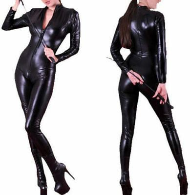 Sexy Stretch 4-Way Black Wet PVC Look Latex Spandex Rubber Valentines Catsuit UK
