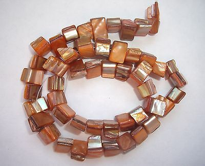 """Orange MOP mother of pearl shell square 8mm beads 16"""""""