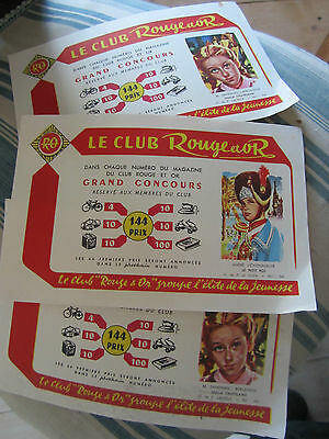 Lot De Buvards Buvard Publicitaire Le Club Rouge Et Or Vers 1960 Vintage