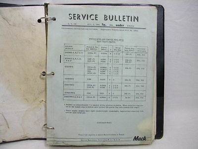 Vintage Various 1968 MACK Truck Service Bulletins and Notebook