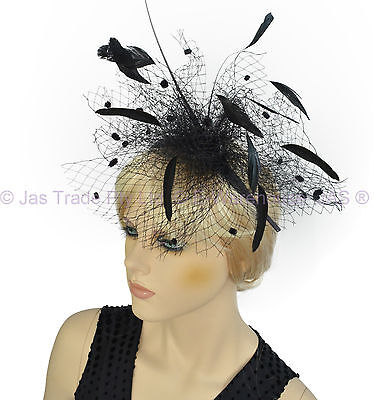 1 Melbourne Cup Spring Racing Carnival Headband Wedding Feather Fascinator BLACK