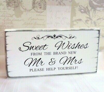 Wedding Signs Sweet Table SWEET WISHES Candy Bar Vintage Wedding Table Sign