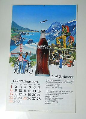 Vintage 1975 COKE Coca-Cola Advertising Calendar Complete LOOK UP, AMERICA