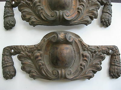"2 ANTIQUE ORNATE VICTORIAN BEVELED 8"" by 3"" BRASS PEDIMENTS TRIM PIECES"