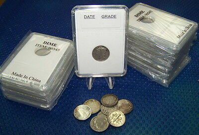 10 Coin Holders Slab Style ** for US Dime -- size 18 mm**