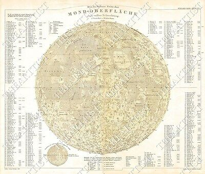 GIANT VINTAGE historic PERTHES 1880 Map of the Moon OLD ANTIQUE lunar MAP