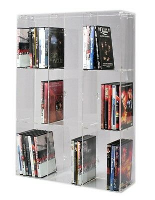 Acrylic DVD Rack with transparent back-panel for up to 90 DVD cases