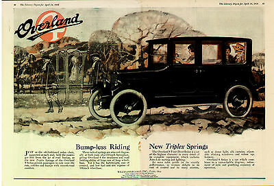 1920 WILLYS OVERLAND WOMAN DRIVER CENTERFOLD COLOR  ORIGINAL  CAR AD