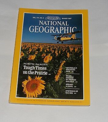 National Geographic Magazine March 1987 - Australian Seas/north Dakota/brazil