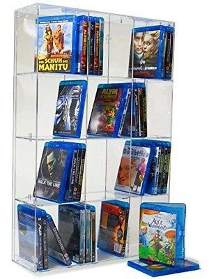 Acrylic Blu-ray Rack with transparent back-panel for up to 120 Blu-ray cases