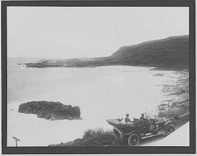 Model T At Waimea Bay 1915? Haleiwa Hand Printed Silver Halide Photo On 8X10 Mat