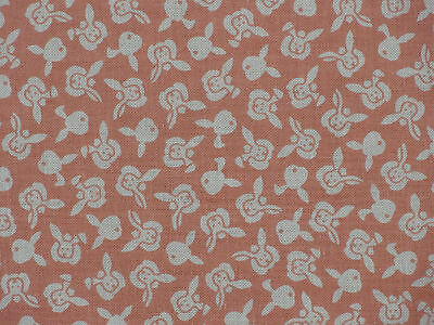 Tenugui Cloth Japanese Rabbit Fabric Cotton Towel Gauze 'Peach Bunnies'