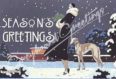 Vintage Altered Art Greyhound and Lady Season's Greetings Cards - Set/4 w Env