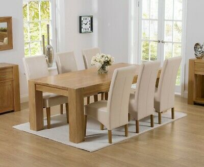 Provence Oak Furniture 2.2M Table & 6 Modern Leather Roma Chairs Dining Set