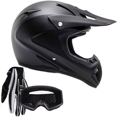 Adult Motocross Helmet Gloves Goggles DOT Matte Black Dirt Bike Off Road ATV UTV