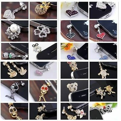 3.5mm Crystal Rhinestone Anti-Dust Earphone Cap Plug Stopper For Phones New