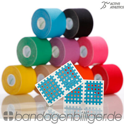6x ACTIVE ATHLETICS Kinesiologie Tape Kinesiology 5m x 5,0cm Gratis CrossTape!!!