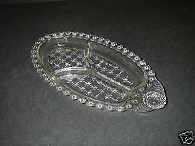 Hazel Atlas Glass Pressed JEWEL Clear Relish Dish 3-section Handled Depression