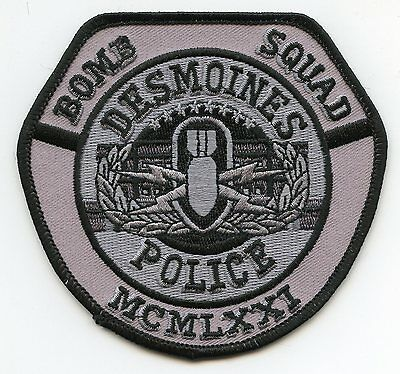 DES MOINES IOWA IA Bomb Squad SUBDUED POLICE PATCH