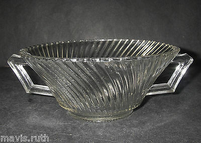 "Federal Glass DIANA Clear Cream Soup Bowl 5¼"" d Depression 1937-41"